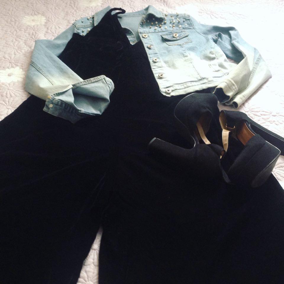 Veludo e jeans com Zaful