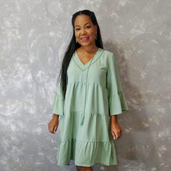 Blencot | Vestido verde com babados em camada