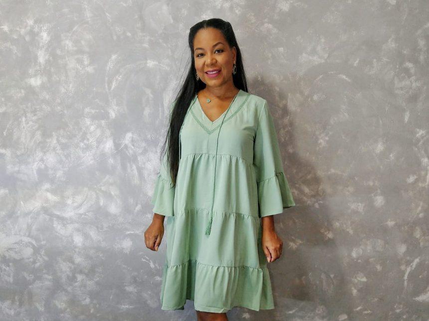 Blencot   Vestido verde com babados em camada